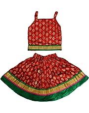 DIAMO Girls' Jaipuri Rajasthani Hand Block Print Ethnic Wear Pure Rayon Cotton Lehenga Choli(Skirt & Top)