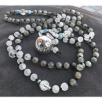 BOLA gravidanza in collana di pietra di luna, Labrador, argento 925 pietre semipreziose naturali