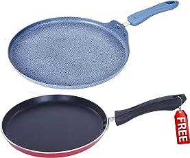 Nirlon Non-Stick Aluminium Cookware Set, 2-Pieces, Grey (MRBL_FT_FREE_MCFT)