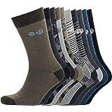Mens Socks (10 pack) camo and Stripe Cotton Rich Breathable calf Socks