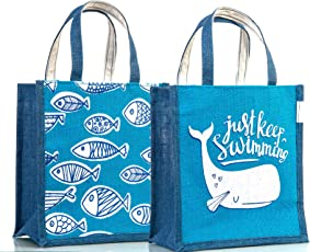 H&B Multipurpose Waterproof Jute Lunch Bag/Tote Bag/Shopping/HandBag For Office Executive Men/Women/Girls/Unisex/jute bags for lunch for men/ jute bags for women/jute bags for lunch for women/jute lunch bags for office women/jute lunch bags for kids/jute bags With Zip (Marine Life Fish, Size : Height:11in, Length: 9in, Width: 6in) Set of -2