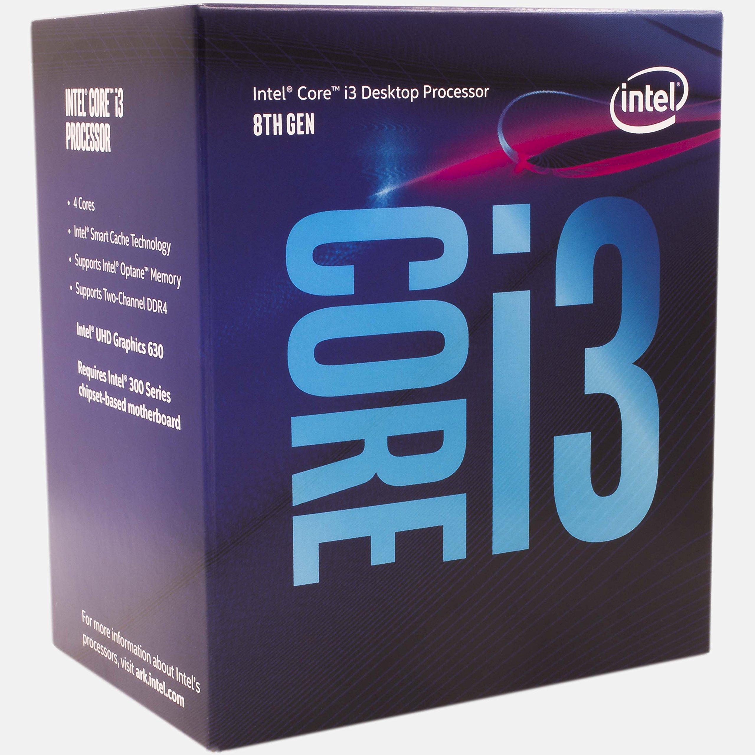 Intel Core i3-8100 3.6GHz 6MB Smart Cache Box processor - processors (3.60 GHz), 8th gen Intel® Core
