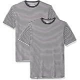 Amazon Essentials - Pack de 2 camisetas de manga corta con cuello redondo y diseño a rayas para hombre