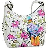 Anuschka Damen Schultertasche aus echtem Leder, handbemalt, originelles Kunstwerk, klassischer Hobo mit Nieten-Seitentaschen