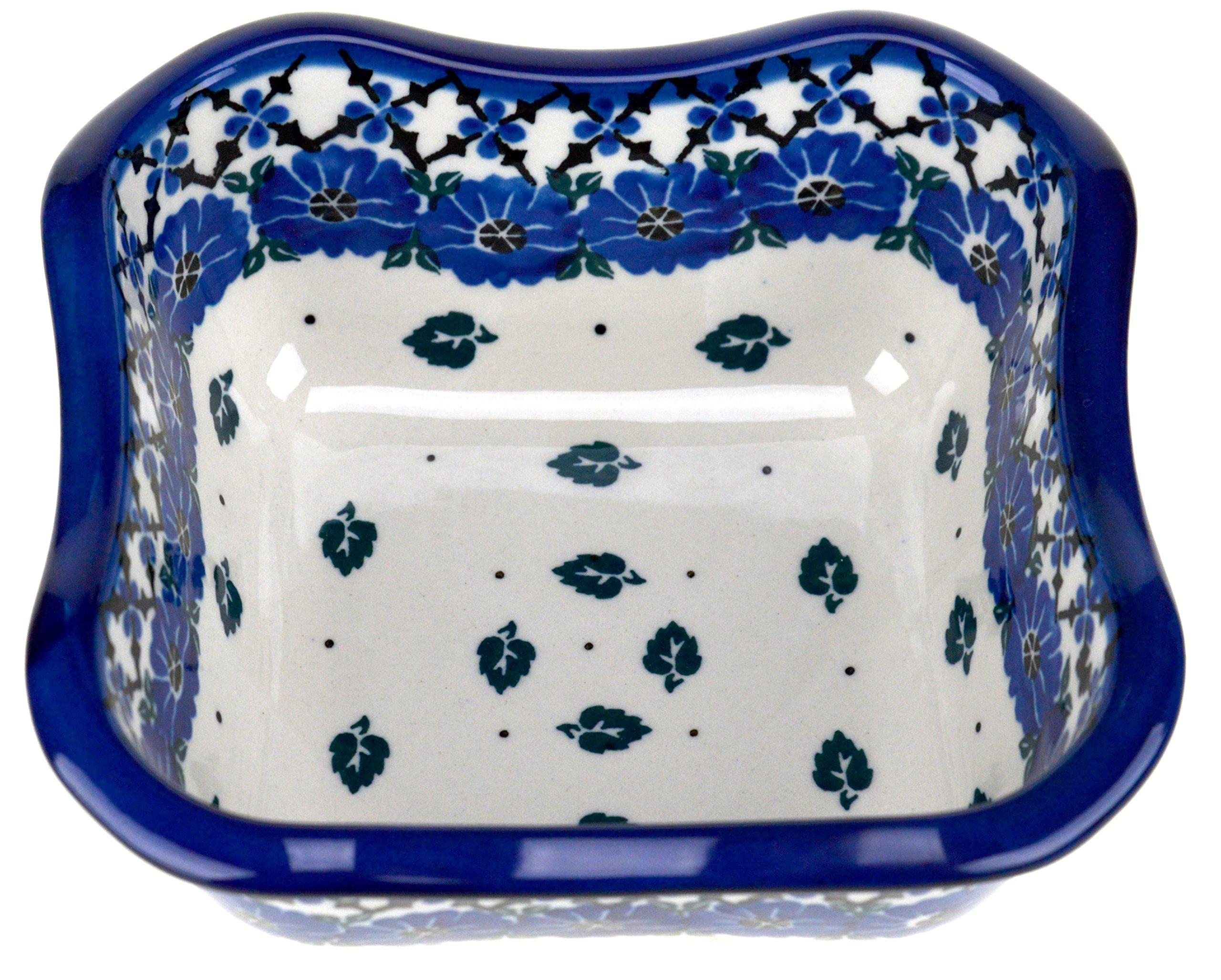 Ceramika Artystyczna Polish Handmade Square Fluted Bowl (Blue Flowers)