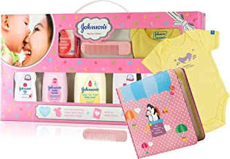 Johnson's Baby Care Collection with Organic Cotton Baby Dress and Milestone Book Gift Set (11 Pieces)