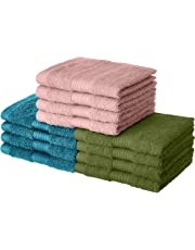 Amazon Brand - Solimo 100% Cotton 12 Piece Towel Set, 500 GSM (Turquoise Blue, Olive Green and Baby Pink)
