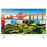 Telefunken XH24J501V-W 24 tums TV (smart TV inklusive Prime Video/Netflix/YouTube, HD-ready, 12 volt, arbeta med Alexa, Tripl