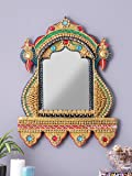 999Store Royal Antique Vintage Handcrafted Hand Painted Wooden Decorative Mirror/Wall Mirror/Bath Room Mirror