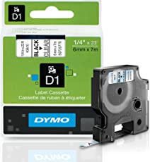 Dymo D-1 Tape, 0.25 Inches x 23 Feet, Black On Clear, 1/Card (43610)