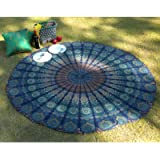 Round Tapestry - Peacock Mandala Roundie Boho Hippie Tablecloth Pure Cotton Beach Throws for Picnic and Camping - Blue…