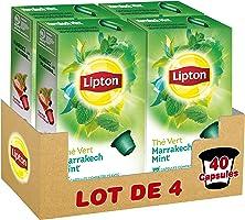 Lipton Thé Vert Marrakech Menthe Label Rainforest Alliance 40 Capsules Compatibles Nespresso (Lot de 4x10 Capsules)