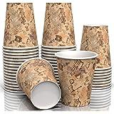 أكواب ورقية متعددة الألوان مطبوعة 8 أونصة لجميع الأغراض (50 قطعة) - كوب للمشروبات الساخنة لمياه الشاي والقهوة