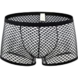 Papapai Men's Boxer Briefs, Soft Mesh Underpants See-Through Underwear Mens Sexy T-Back Thongs Sexy Low Rise Bulge Pouch G-St