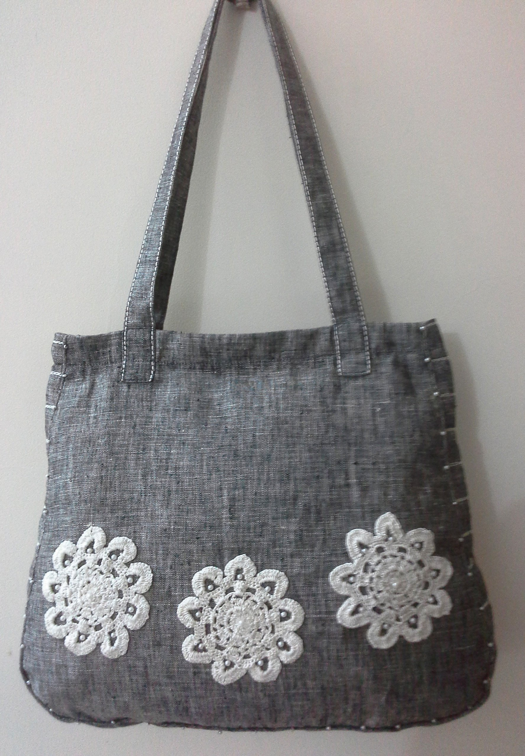 Panigha India Handmade Linen Tote Bag in Textured Charcoal Grey color with handmade crochet flowers. - handmade-bags