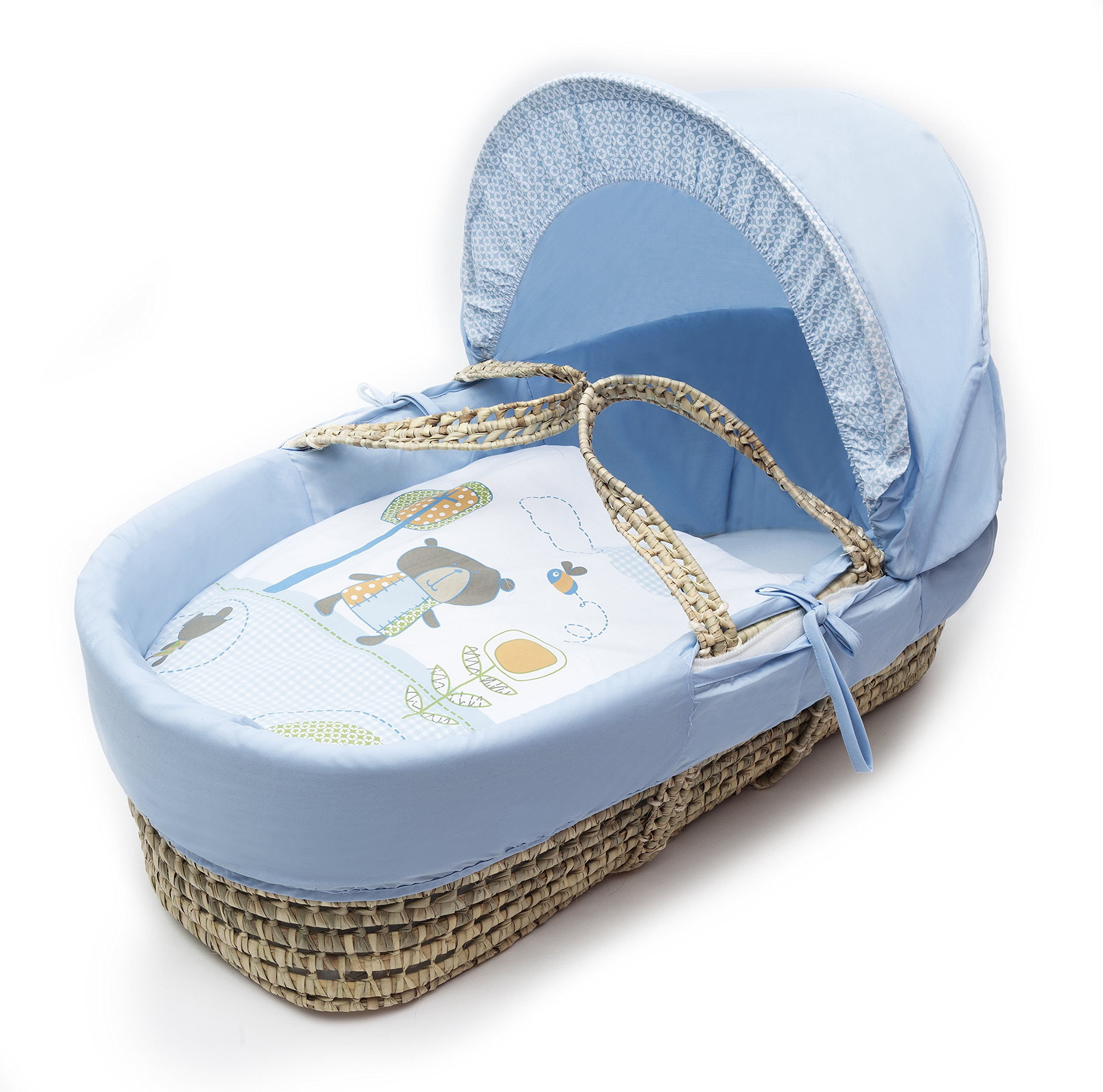 Beary Nice Blue Palm Moses Basket Padded Elegant Baby Suitable from newborn for up to 9kg, this Moses Basket uses Easy-care Poly Cotton with a soft padding surround Suitable from newborn to 9 months It also includes a comfortable mattress and an adjustable hood perfect to create a cosy sleeping space for your precious little one 1