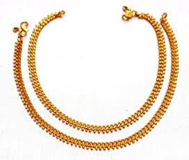 Deccani Handicrafts Panchaloha Metal Gold Anklets Curb Chain With Beads For Women
