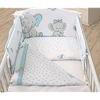 3PCS Baby Bedding Set fit Cot 120x60 or Cot Bed140x70CM - Duvet Cover, Pillow CASE, Bumper (COT 120X60, Baby Elephant-Green)