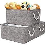 Panier de Rangement, Boîte de Rangement en Tissu Gris avec Poignées pour Chambre à Coucher, Organisateur de Maison pour Jouet