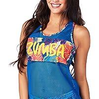 Zumba Women's Breathable Fashion Print Workout Cool Mesh Tank Top Débardeur Femme