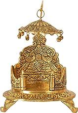 HOUZZPLUS Aluminum Handicraft Thankur Ji Shihasan (13 cm x 13 cm x 20 cm, Gold, GH521)