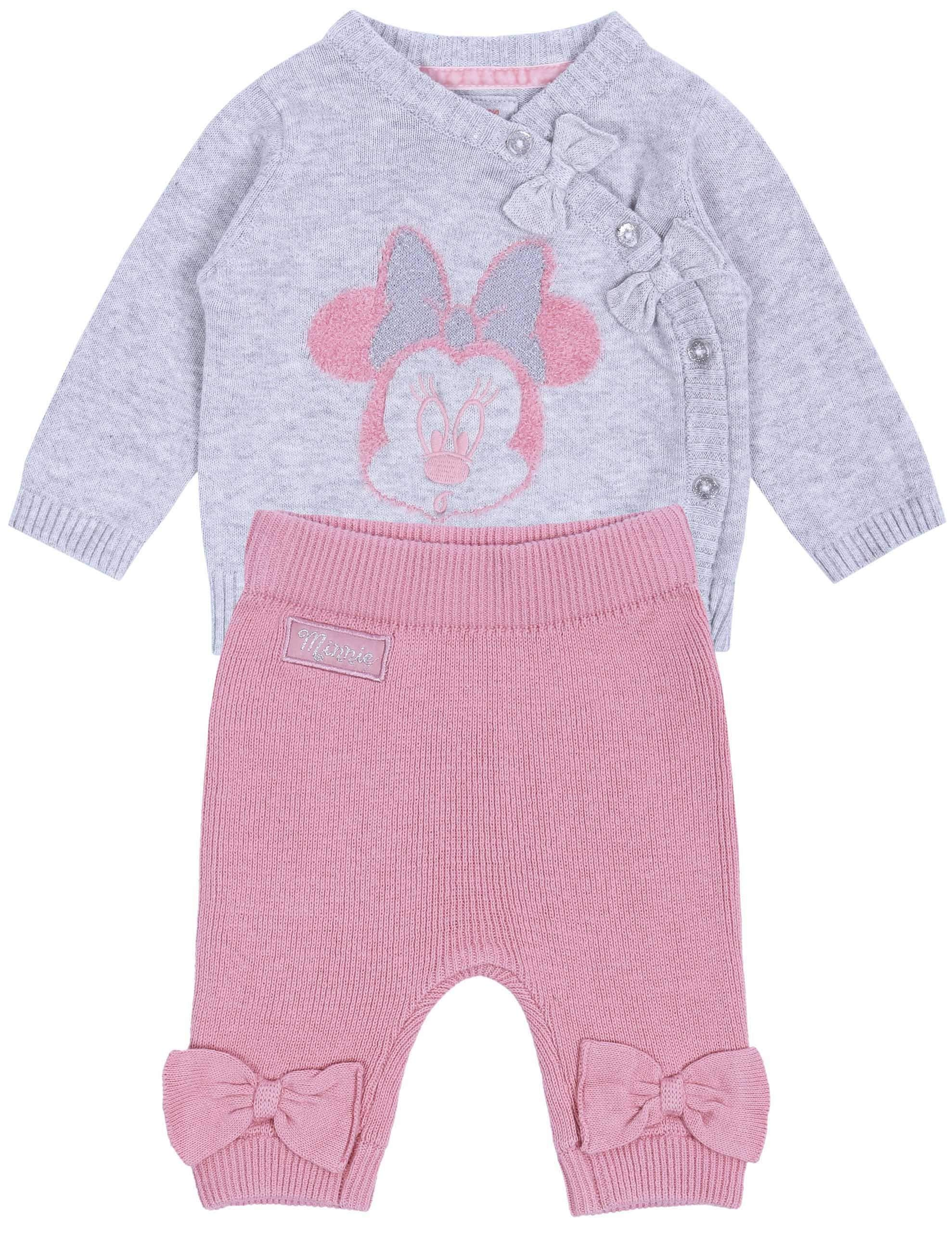 Suéter de bebé + Polainas, Color Gris-Rosa Minnie Disney 1