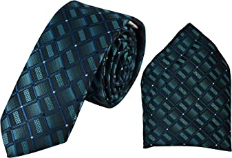 Ammvi Creations Two-Tone Moss Green Full Microfiber Luxurious Premium Mens Tie Pocket Square Set