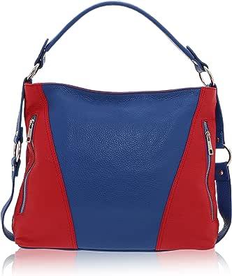 Chicca Borse - Shoulder Bag Borsa a Spalla da Donna Realizzata in Vera Pelle Made in Italy - 26 x 16 x 6 Cm