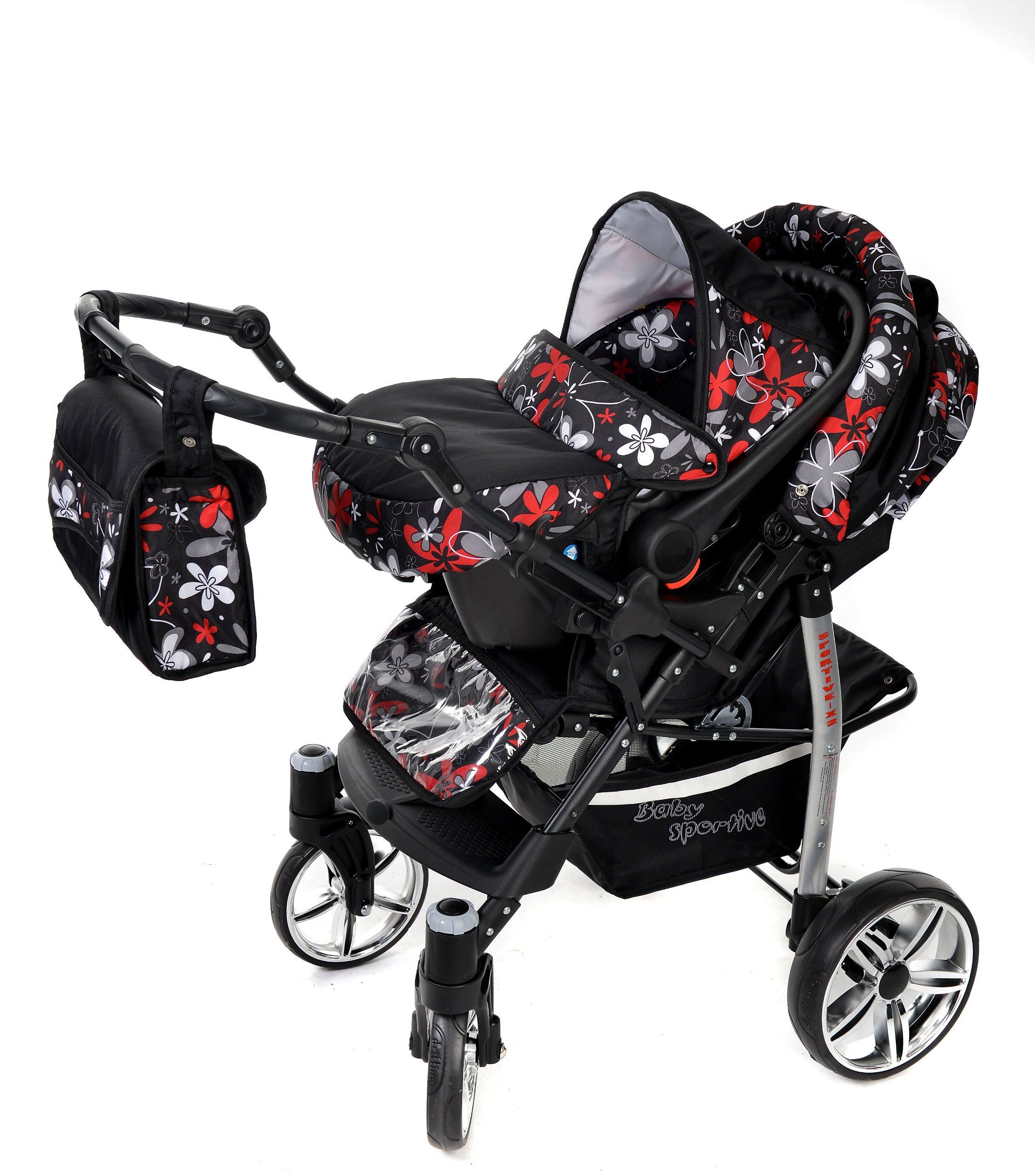 Sportive X2, 3-in-1 Travel System incl. Baby Pram with Swivel Wheels, Car Seat, Pushchair & Accessories (3-in-1 Travel System, Black & Small Flowers) Baby Sportive 3 in 1 Travel System All in One Set - Pram, Car Carrier Seat and Sport Buggy + Accessories: carrier bag, rain protection, mosquito net, changing mat, removable bottle holder and removable tray for your child's bits and pieces Suitable from birth, Easy Quick Folding System; Large storage basket; Turnable handle bar that allows to face or rear the drive direction; Quick release rear wheels for easy cleaning after muddy walks Front lockable 360o swivel wheels for manoeuvrability , Small sized when folded, fits into many small car trunks, Carry-cot with a removable hood, Reflective elements for better visibility 6