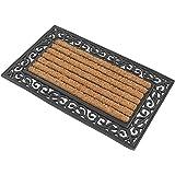 1 x Premium Fußmatte aus Gummi und Kokosfasern, 76 x 46 cm | ✓ 3,5 kg Fußabtreter verhindert verrutschen ✓ Robuste & repräsentative Schmutzfangmatte, Sauberlaufmatte, Schmutzmatte ✓ Fußabstreifer für Eingangsbereich von Haus und Wohnung