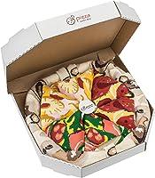 Pizza Socks Box - Pizza MIX Hawaïenne Italienne Peppéroni - 4 paires de Chaussettes FANTAISIE Uniques et Originales - CADEAU Drôle en COTON! |pour Fammes et Hommes, UE: 36-40, 41-46|Made in Europe
