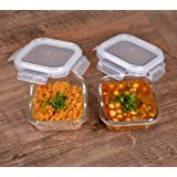 Cutting EDGE Glass Food Container, 320 Ml Square, for Kitchen Stackable Storage with Air Tight Lid - Microwave Safe (2)