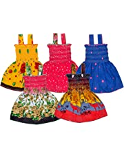 Sathiyas Baby Girls Cotton Gathered Dresses (Multicolor, Set of 5)