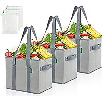 COTTARA Premium Einkaufstasche faltbar groß 3er Pack – Stabiler wiederverwendbarer Einkaufskorb mit faltbarem…