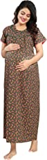 Mamma's Maternity Printed Feeding Nighty/Feeding Gown/Maternity Gown/Nursing Gown