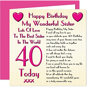 Sister 40th Happy Birthday Card Lots Of Love To The Best Sister In