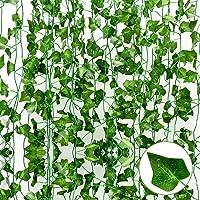 Yumcute 12 Pack Lierre Plante Artificielle Guirlande Exterieur Faux Lierre Feuillage,Belles Fausse Lierre,Durable et…