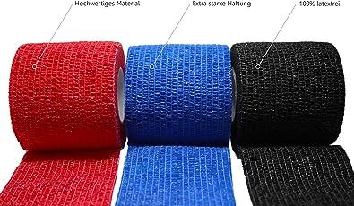 3 Stück selbsthaftende Bandagen / Fixierbinde / Verband / Wundverband / Pflasterverband / Tierverband - kohäsiv, latexfrei, elastisch - 5cm x 4,5m