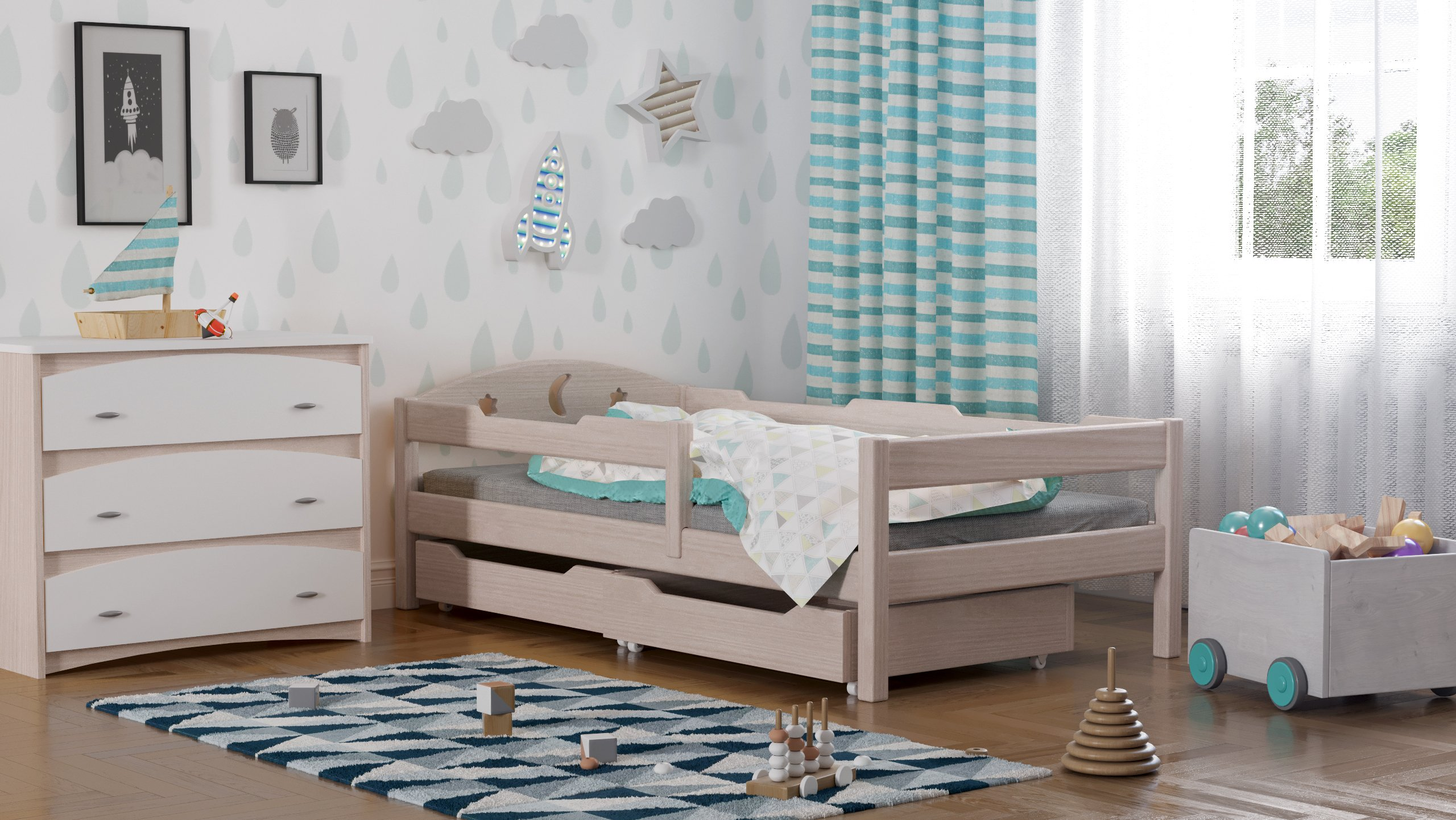 Oliwia single bed with drawers for kids made of solid wood - different sizes - 6 colours (Bleached Oak, 200x90) WNM Group Bed made entirely of exclusive solid pine wood, frame strength up to 300 kg Protective barrier for size 140x70 is 80cm for other sizes 105cm The bed is suitable for 10-12 cm mattresses. (Mattress is not included) 1