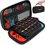 ivoler Carry case for nintendo switch and switch OLED, Black Protective Portable Hard Shell Pouch Carrying Travel Game Bag