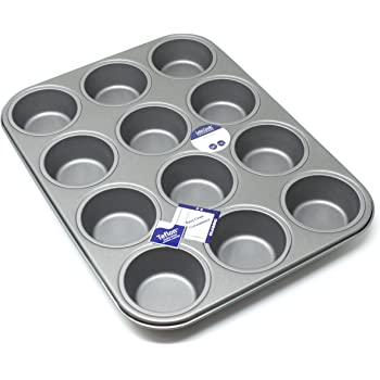 12 Hole Deep Muffin Pan/Tin Baking Tray with Teflon Non Stick by Lets Cook Cookware
