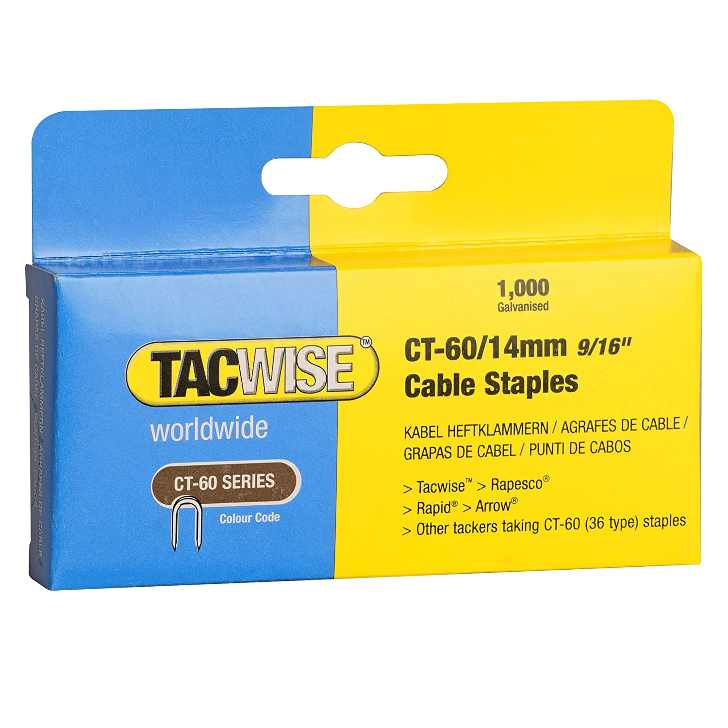 tacwise ct 60 14mm staples for cable tacker boxed 1000
