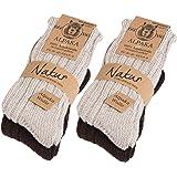 Brubaker 4 Paia di calzini di Alpaca in 100% lana di Alpaca - Set di calzini Invernali per Uomini e Donne - molto soffici, sp
