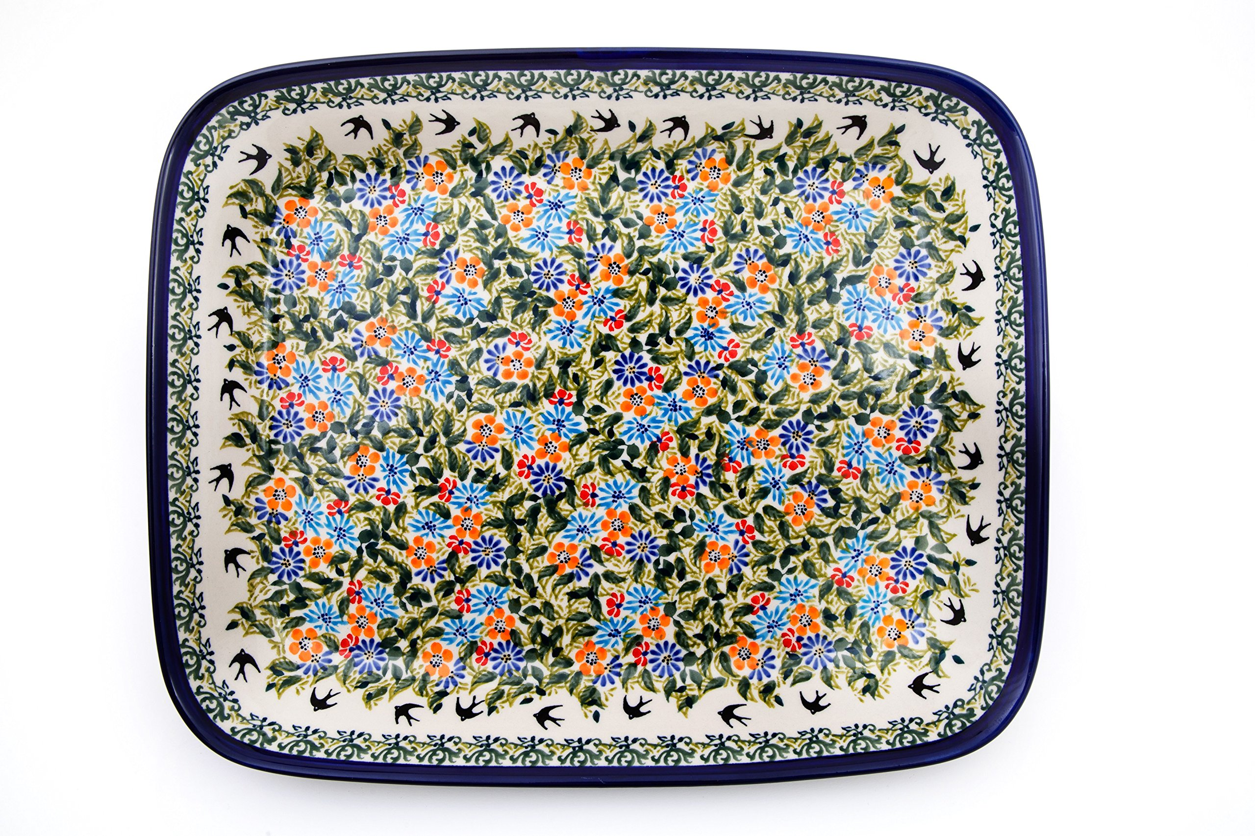 Hand-Decorated Polish Pottery Casserole Dish for 2-3people 29,5×22,5cm x 4.5cm in design DU182
