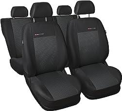 Auto Sitzbezüge, komplettes Set, individuell 100% Angepasst, sehr Robuste Materialien, Velours und Polyurethanschaum, Schwarz, Anthrazit, Elegance P-3