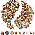 AIEX 100pcs Mixte Bouton Aléatoire Peinture de Fleurs Formes Rondes Boutons Rétro en Bois Couleurs Assorties pour Confection