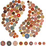 AIEX 100 Pcs Mixed Random Flower Painting Round Shapes Wooden Retro Buttons Assorted Colors for Sewing Crafting DIY 15mm…