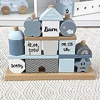 Kidslino Steckspiel Haus blau I Personalisierbares Geschenk zur Geburt Jungen I Handmade Holzspielzeug I Personalisierte…