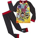Teen Titans Go! Pijama para Niños Invierno, con Superhéroes Beast Boy Cyborg Starfire Robin Raven, Ropa de Dormir con Camiset