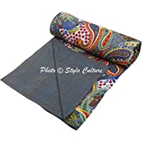 Stylo Culture Bedspread Double Bed Hand Stitch Printed Kantha Bedspread Decor Paisley Bedding Grey